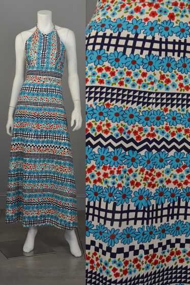 1960's Retro Print Hippie Maxi Halter Dress
