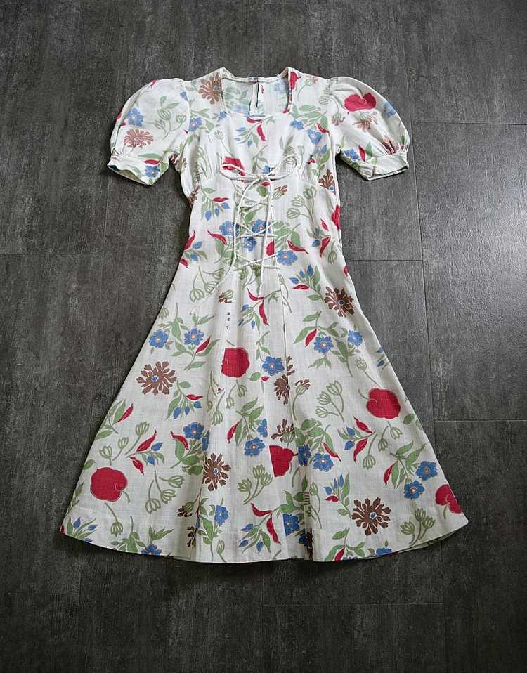 1930s 1940s dress . vintage puff sleeves dress - image 2