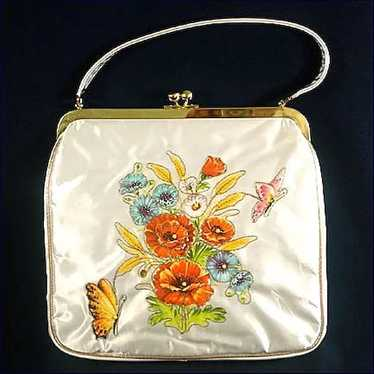 JR Florida Vinyl Covered Applique Flower Purse Min