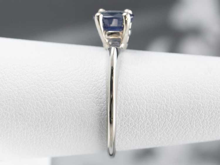 White Gold Sapphire Solitaire Ring - image 9