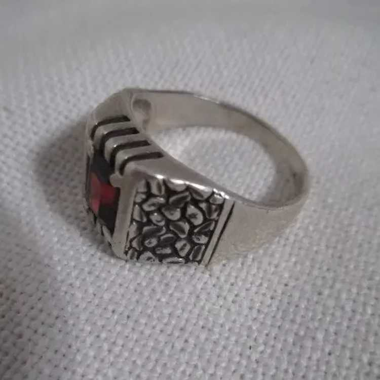 Sterling Silver Ring with Ruby - image 2