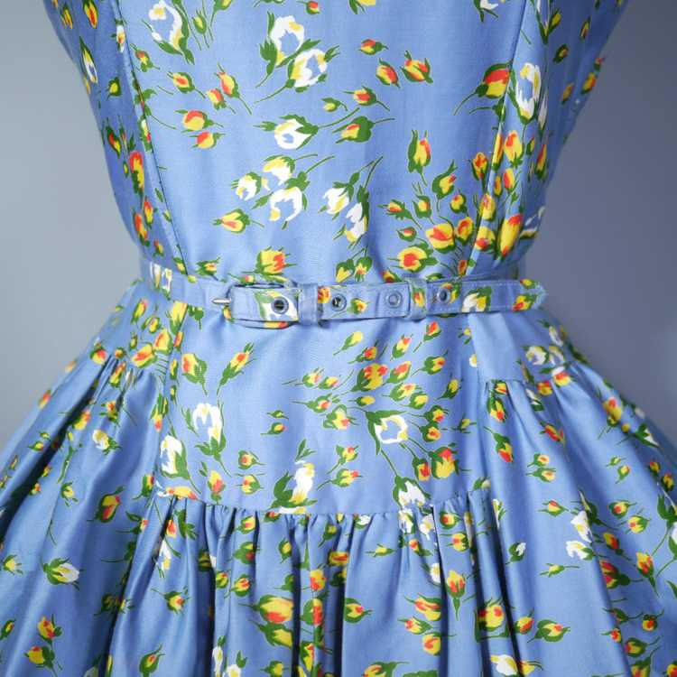 50s BLUE FULL SKIRTED DRESS BY RODNEY IN RED AND … - image 8