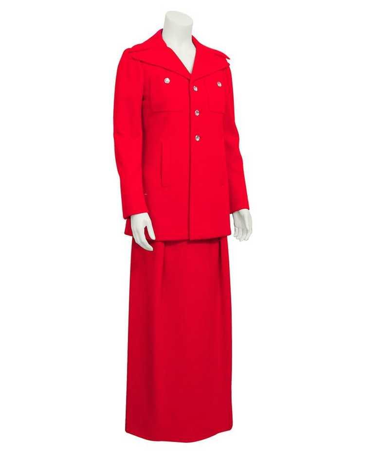 Pauline Trigere Red gown & coat ensemble - image 3