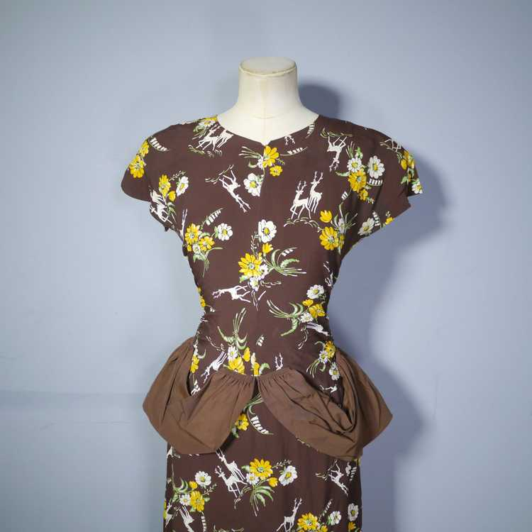 40s NOVELTY DEER AND FLOWER PRINT BROWN RAYON DRE… - image 7