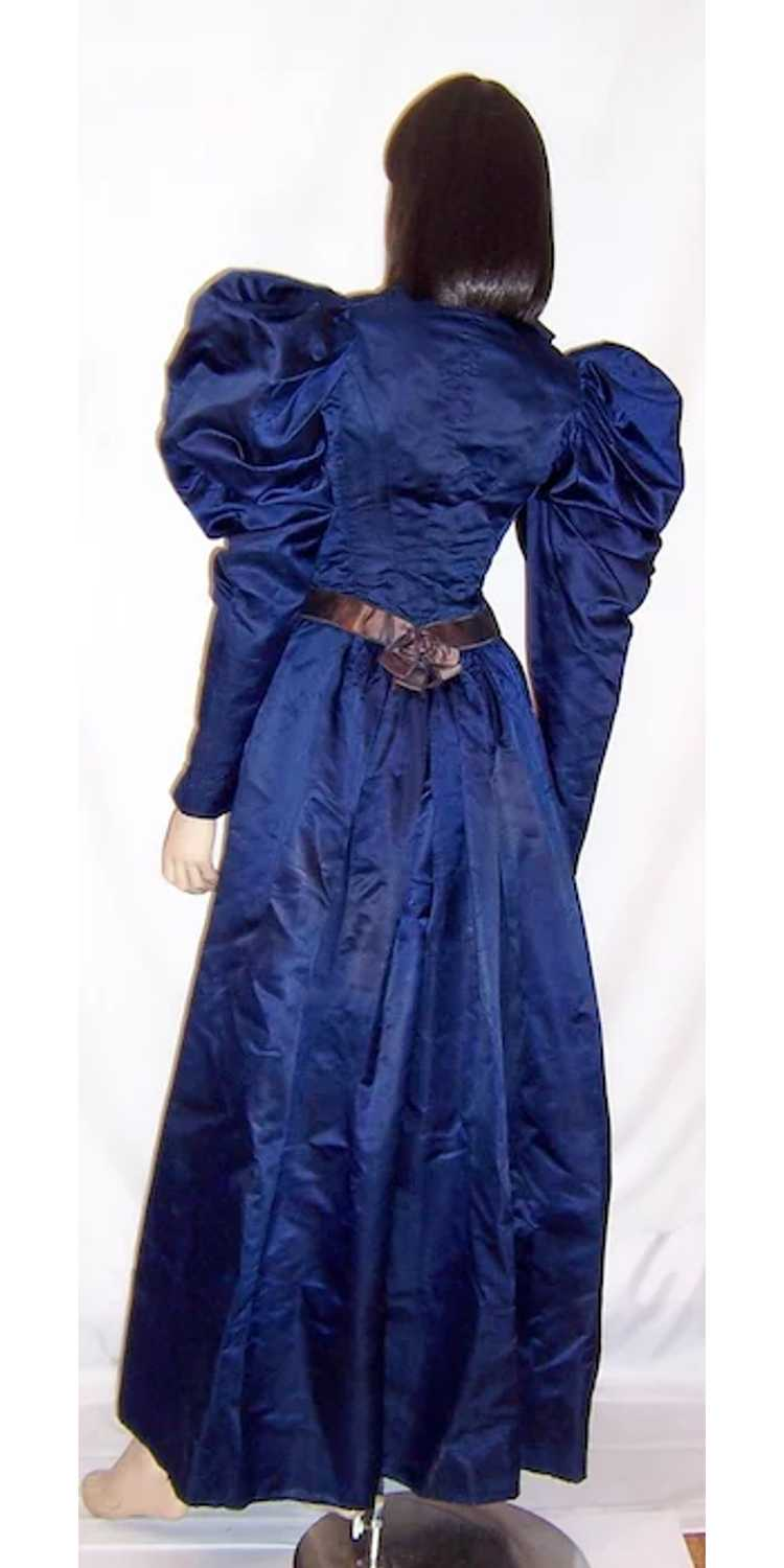 Vivid Navy Victorian (1890's The Gilded Age) Silk… - image 3