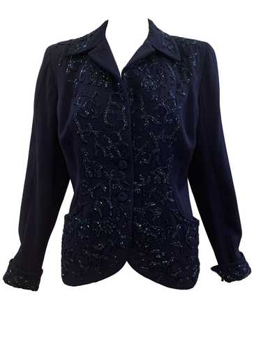 Maxine 40s Navy Blue Beaded Gabardine Jacket