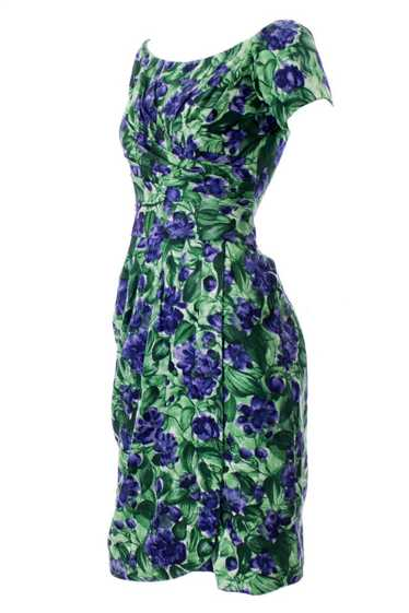 Ceil Chapman Designer 1960's Blue and Green Floral