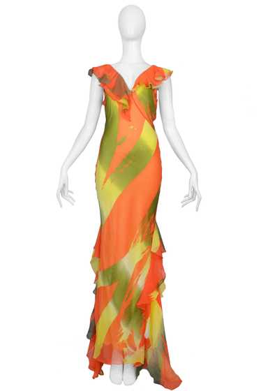 BURROWS COLORFUL SILK BIAS GOWN