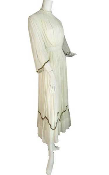 Victorian Ivory Vintage Dress with gold metallic t