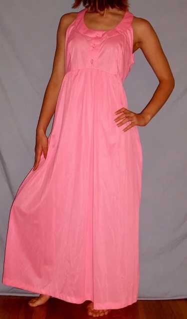 Vintage 1970 Loungees Vibrant Pink Long Nightgown