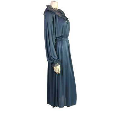 Vintage Radley Blue Lace Evening Dress 1970s