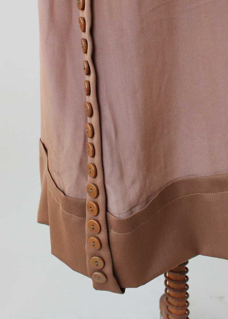 Vintage 1920s Brown Silk Day Dress with Duster Co… - image 7