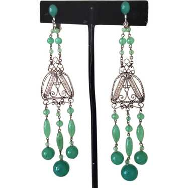 "1920's 4"" Long Green Glass Earrings"