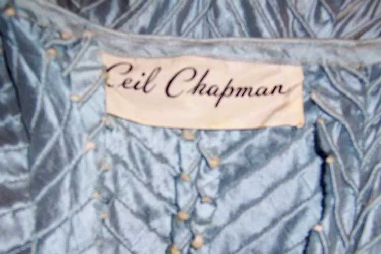 Ceil Chapman 1950's Ice Blue Pintucked Gown - image 8