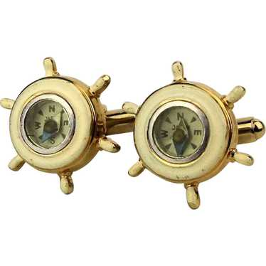 Vintage Working Compass Nautical Cufflinks 1950s E