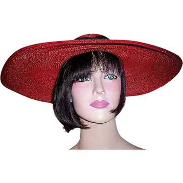1930's Red Finely Woven Straw Cartwheel Hat with B