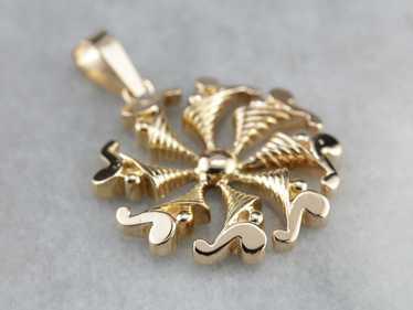 Vintage Yellow Gold Spiral Pendant
