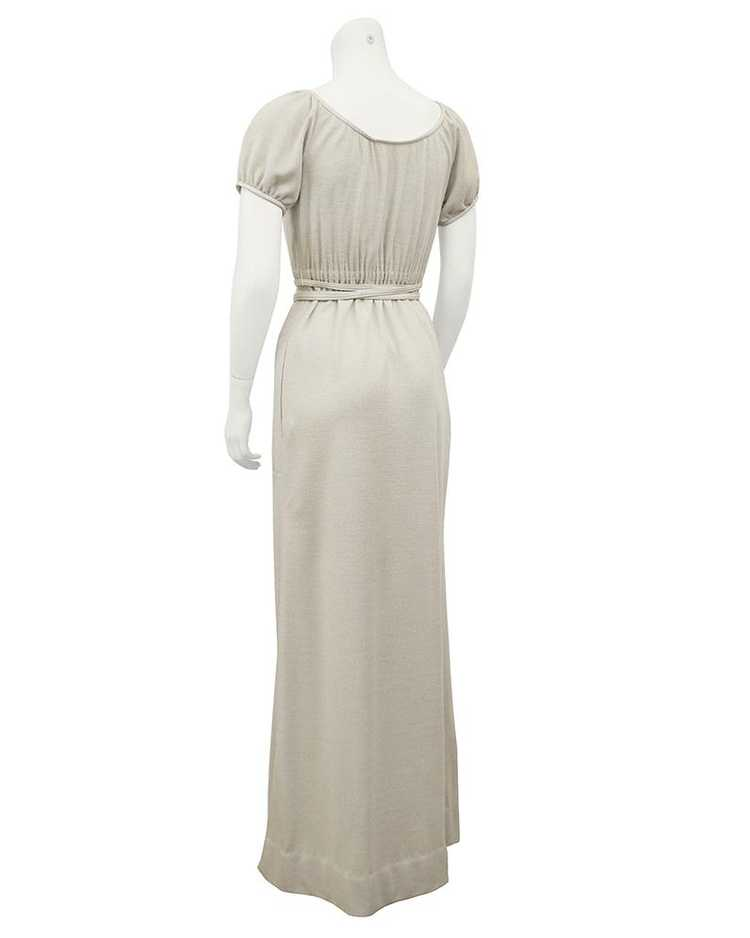 Bonnie Cashin Cream Wool Jersey Gown With Leather… - image 3