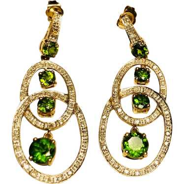 10kt Diamond and Green Stone Earrings