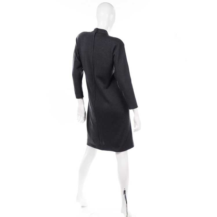 1970s Vintage William Travilla Charcoal Gray Dres… - image 6