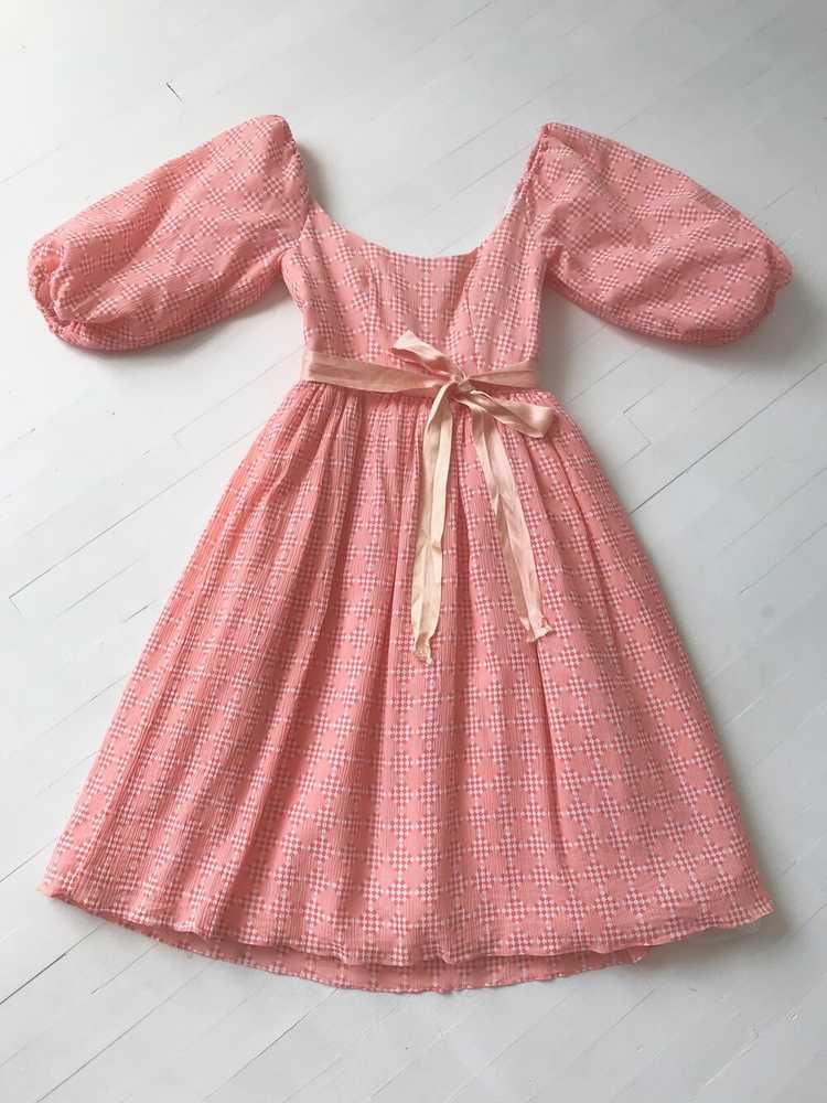 1980s Peach Diamond Print Dress with Balloon Slee… - image 3
