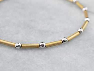Two Tone 14K Gold Beaded Bracelet