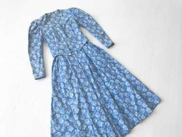1980s Blue Rose Print Dress + Jacket Set