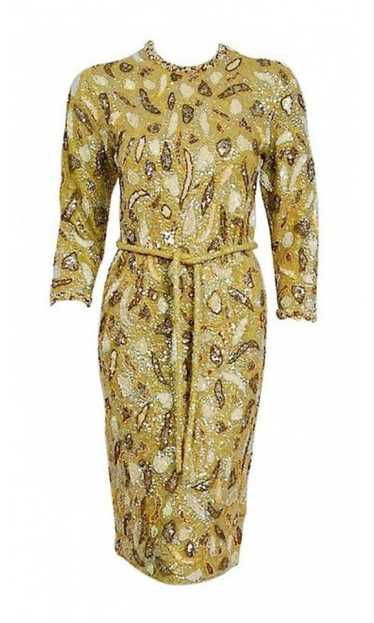 1960's Gene Shelly Chartreuse Yellow Sequin Beaded