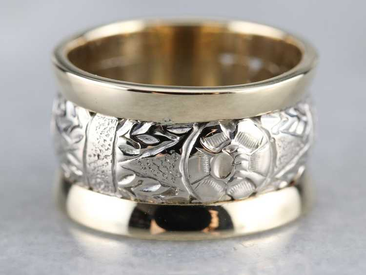 Patterned Two Tone Gold Wide Band - image 1