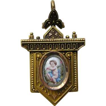 Antique Etruscan Cherub 14k Locket - image 1