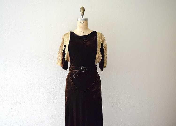 1930s velvet gown . vintage 30s bias cut dress - image 1
