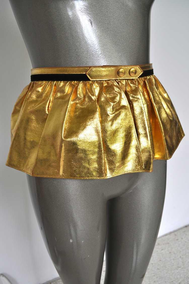 Fabulous 50s Gold Metallic Peplum Leather Belt. - image 2