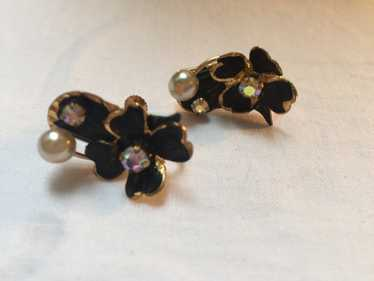 Black, Gold, Rhinestone and Pearl Floral Earrings,