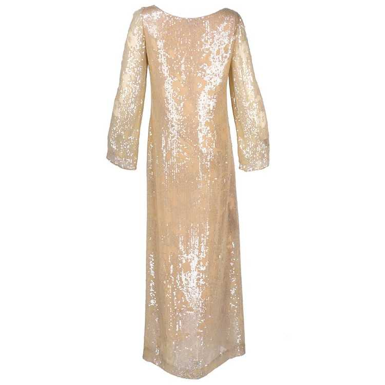 Vintage HALSTON 80s Nude Sheath Gown - image 3
