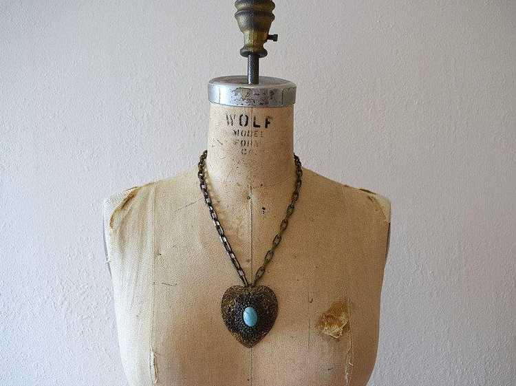 1930s 1940s brass necklace . vintage 30s 40s neck… - image 2