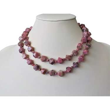 "Vintage Rhodonite Necklace 32"" Length"
