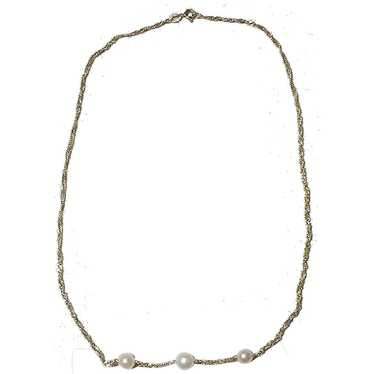 Cultured Pearl Gold Chain Necklace 14K