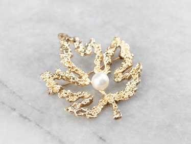 Vintage Gold and Pearl Maple Leaf Brooch - image 1