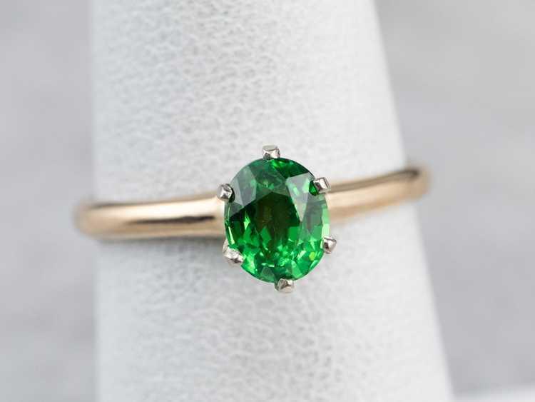 Tsavorite Garnet Gold Solitaire Ring - image 7