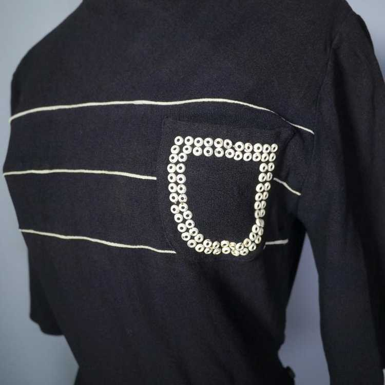 40s BLACK CREPE BLOUSE WITH WHITE PIPING AND STUD… - image 4