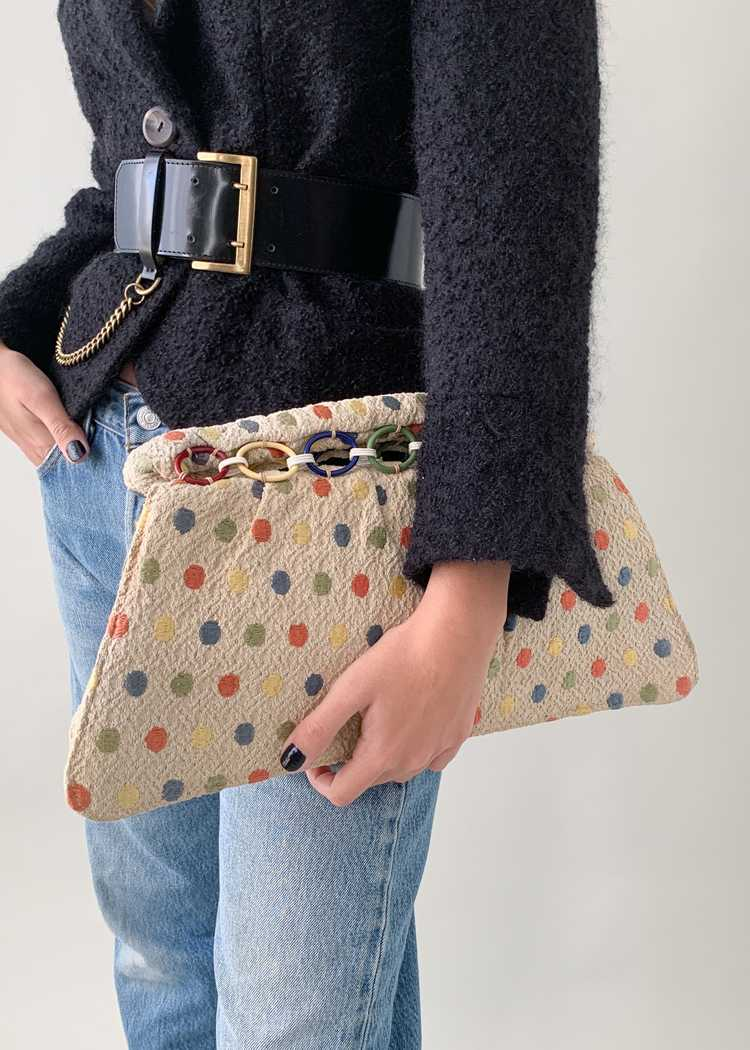 Vintage 1940s Fabric Clutch with Celluloid Rings - image 6