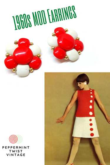 1960s MOD - Large, Two Tone Red and White Earrings