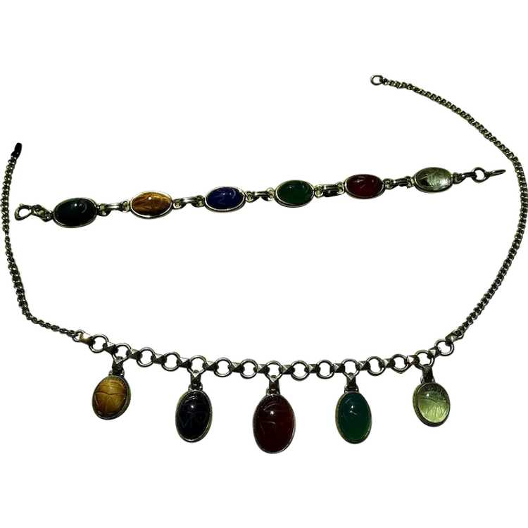 Egyptian Revival Necklace and Bracelet - image 1