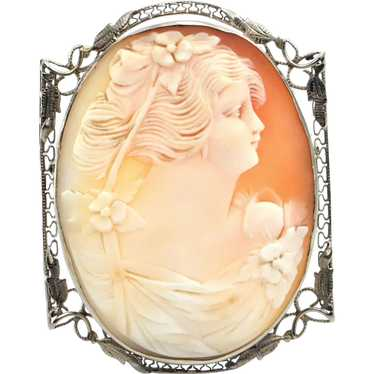Vintage 14K White Gold Natural Shell Cameo Brooch /& Pendant 34x26mm