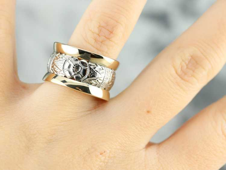 Patterned Two Tone Gold Wide Band - image 4