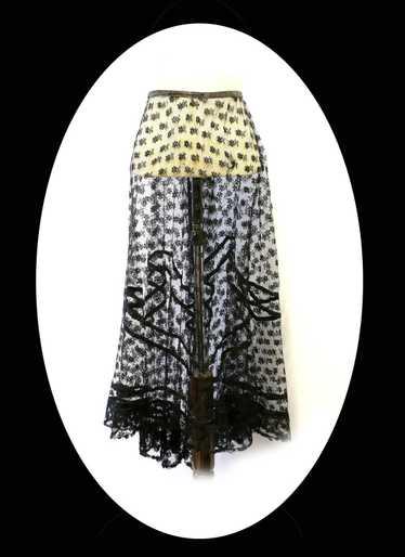 Vintage 1920s Black Lace Skirt