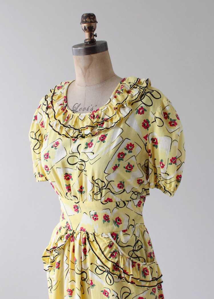 Vintage 1930s Yellow Novelty Print Cotton Dress - image 6