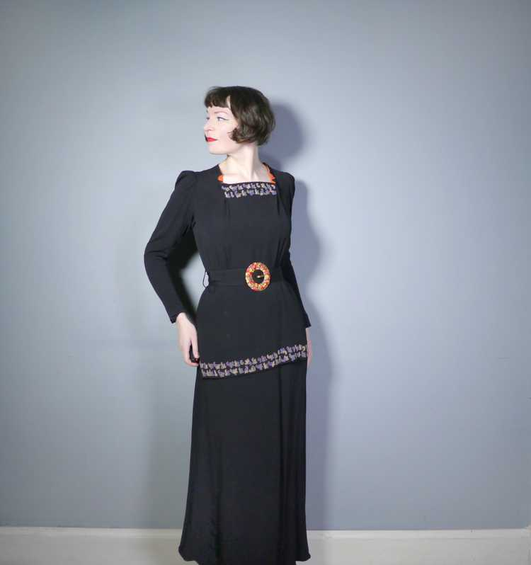 30s 40s BLACK CREPE EVENING DRESS WITH BEADED PEP… - image 2