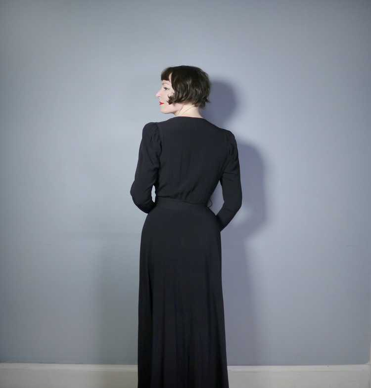 30s 40s BLACK CREPE EVENING DRESS WITH BEADED PEP… - image 5
