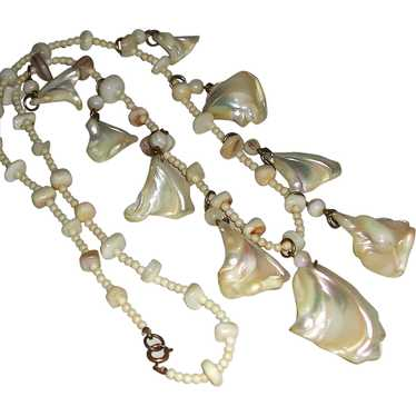 Natural\u00a0White and Beige Mother of Pearl Handmade necklace,\u00a0knotted